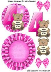 Happy 4th Birthday Cute Little Bear, Pink Balloon Rocker