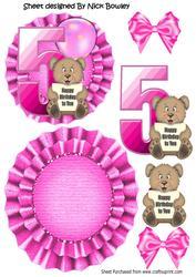 Happy 5th Birthday Cute Little Bear, Pink Balloon Rocker