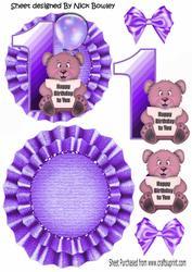 Happy 1st Birthday! Cute Little Bear, Purple Balloon Rocker