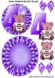 Happy 4th Birthday Cute Little Bear, Purple Balloon Rocker