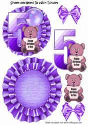 Happy 5th Birthday Cute Little Bear, Purple Balloon Rocker
