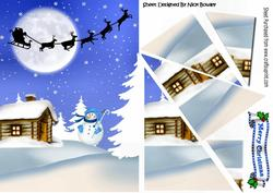 Lovely Snow Cottage with Santa Side Stacker Pyramids