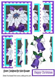Pretty White and Purple Poinsettia Side Stacker Pyramids