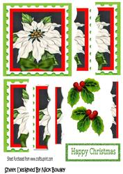 Pretty White and Green Poinsettia Side Stacker Pyramids