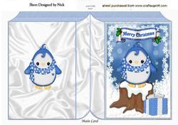 Cute Penguin in Spot Scarf, on a Snow Log Folded Book