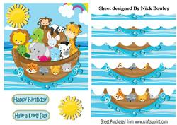 Noahs Ark with Animals , Wavy Water Stackers