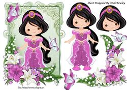 Pretty Princess in Pink with Butterflies and Flowers