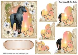 Pretty Peach/cream Flowers with a Horse, Scalloped Stackers