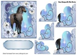 Pretty Blue Flowers with a Horse, Scalloped Stackers