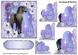 Pretty Purple Flowers with a Horse, Scalloped Stackers