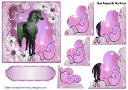 Pretty Pink Flowers with a Horse, Scalloped Stackers