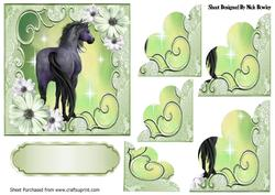 Pretty Lime Flowers with a Horse, Scalloped Stackers