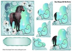Pretty Turq Flowers with a Horse, Scalloped Stackers