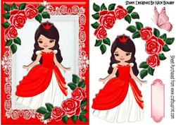 Pretty Princess with Red Roses and Butterfly