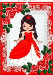 Pretty Princess in Red with Roses A4
