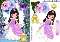 Princess with Fantasy Flowers and Frog