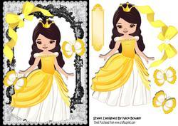 Princess Summer in Her Golden Dress with Butterflies