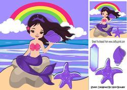 Pretty Mermaid Sitting on a Rock Holding a Purple Shell 8x8