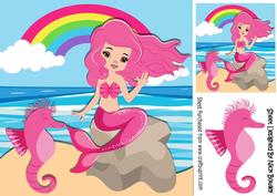 Mermaid with Pink Hair and Seahorse Sitting on a Rock 8x8