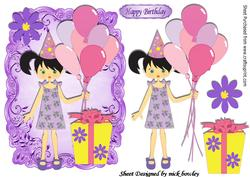Party Girl with Balloons and Present