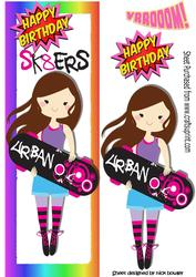 Urban Sk8ter Girl, with Her Skateboard Tall Dl