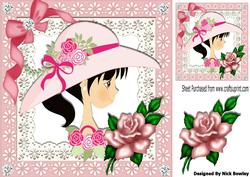 Pretty Girl in Bonnet with Bow and Rose on Lace 8x8