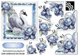 Pretty Vintage Swan with Blue Roses Scalloped Stackers