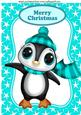 Cute Penguin in Turq Bobble Hat in Star Frame A4