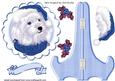 Cute Westie in Blue Santa Hat on Plate & Stand with Holly