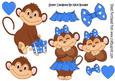Cute Monkey Love in Blue with Hearts A4