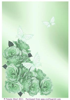 Roses and Butterflies Green Backing Paper