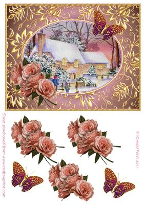 Cottages in Snow with Roses and Butterflies Decoupage