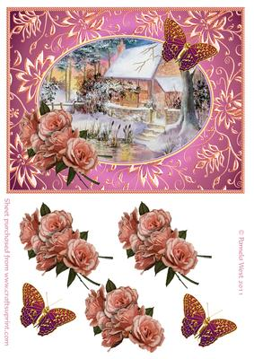 Winter Cottage with Roses and Butterflies Decoupage