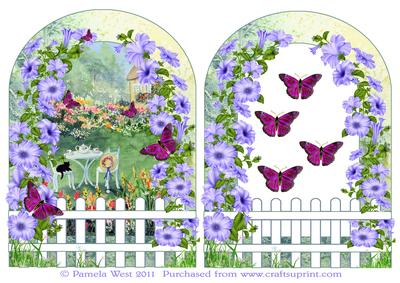Cottage Garden with Picket Fence and Butterflies Decoupage