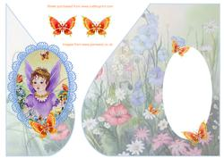 Over the Edge Tear Drop Buttercup Fairy with Butterflies