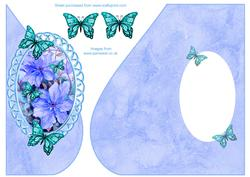 Over the Edge Tear Drop with Blue Clematis and Butterflies