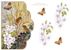 Field Mice and Daisies Scalloped Edge Decoupage Card
