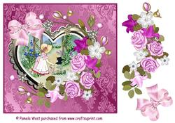 Girl Watering the Flowers with Heart Frame and Decoupage