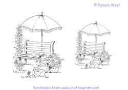 Garden Bench and Cat Digistamp