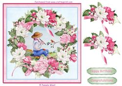 Boy Playing the Flute. Card Topper with Floral Decoupage