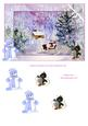 Cabin in Snow with Penguin Santa Step by Step Decoupage Card