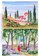 Original Watercolour Paintings Farm in Tuscany and Bluebells