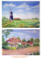 Windmill and Thatched Cottages. 2 Watercolour Toppers