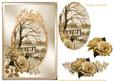 Sepia Vintage Winter with Roses Decoupage Sheet
