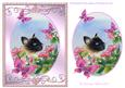 Cat and Apple Blossom with Butterflies Step by Step