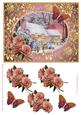 View Cottages in snow with Roses and butterflies decoupage Details