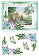Cottage Garden with Lilies Watercolour Decoupage Sheet