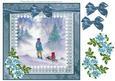 8x8 Sledging in Snow Decoupage Sheet