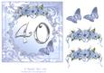 Butterflies and Flowers 40th Birthday or Anniversary Card