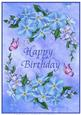 A4 Forget Me Not and Butterflies Birthday Card